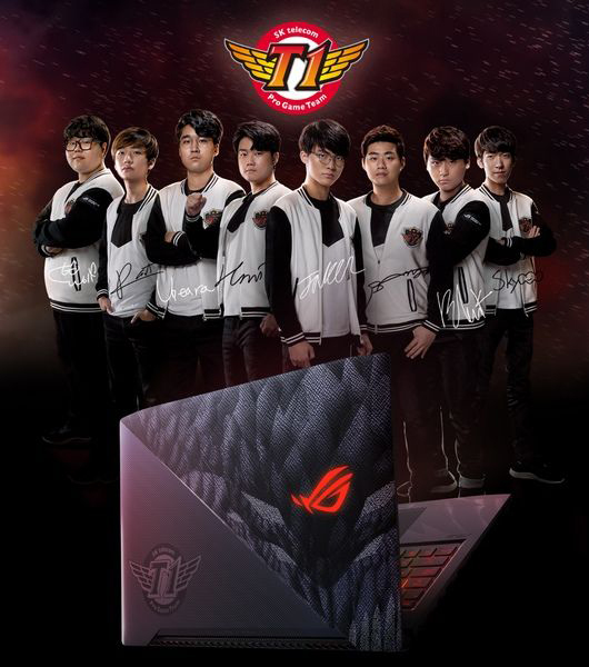eSports sponsorships, gaming setup, ASUS ROG Strix SKT T1, SKT T1, League of Legends team, Gaming Laptop